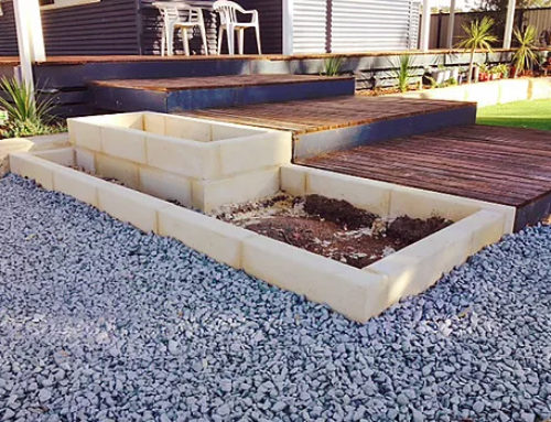 Limestone Blocks garden edge/ planter box for experienced DIY or a Perth Trade Centre professional installation.