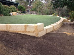 limestone block retaining wall