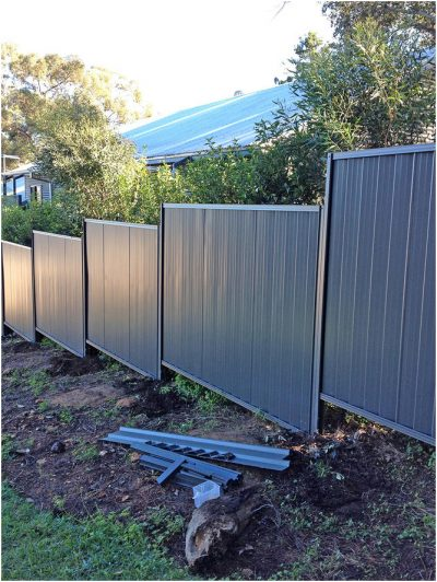 Colorbond fence stepped installation