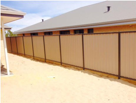 colorbond fence installed perth with timber plinths