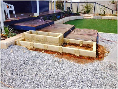 second course limestone block garden edging