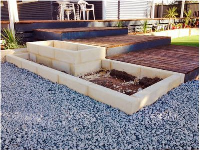 installation of limestone block garden edging