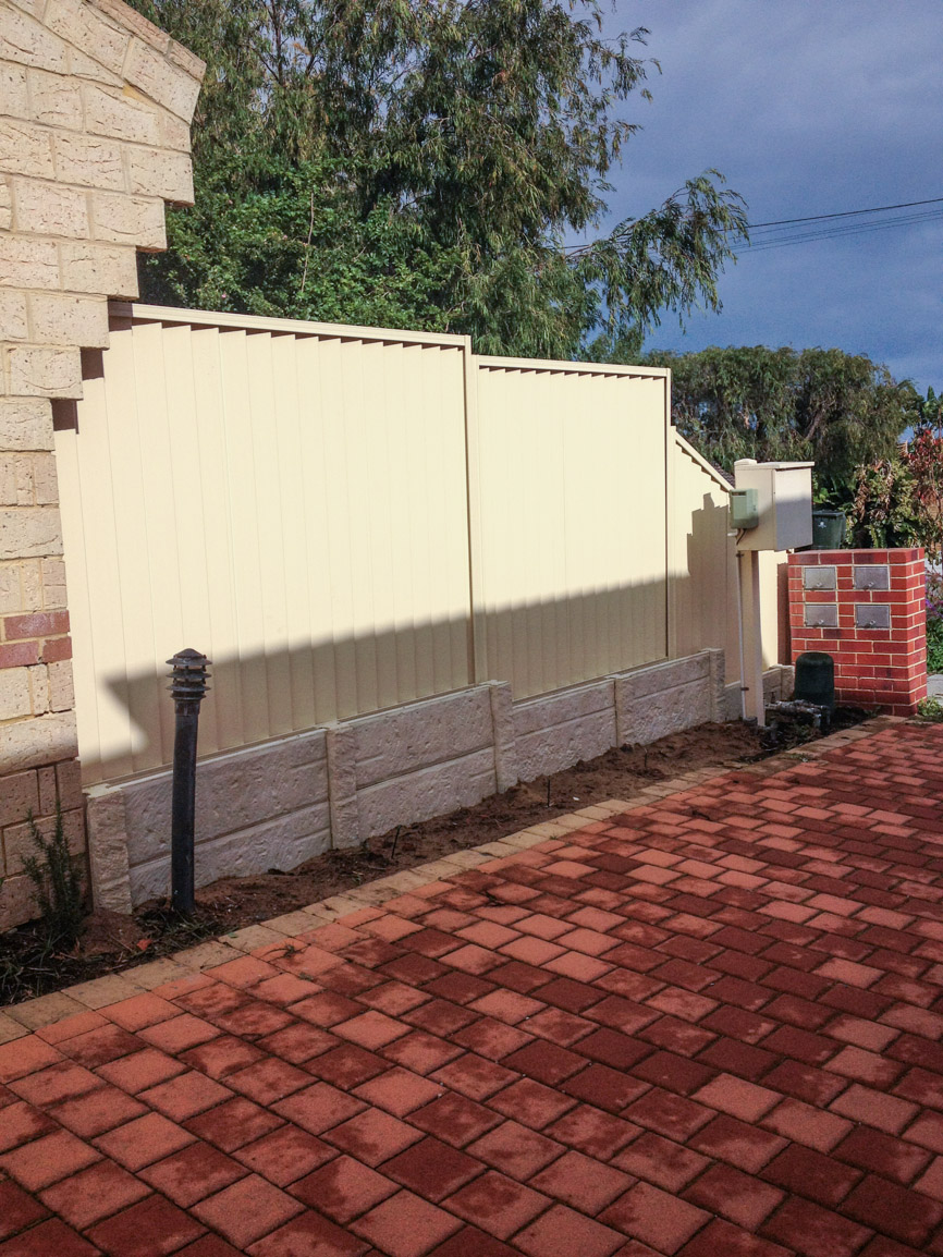 Colorbond fencing and panel and post retaining