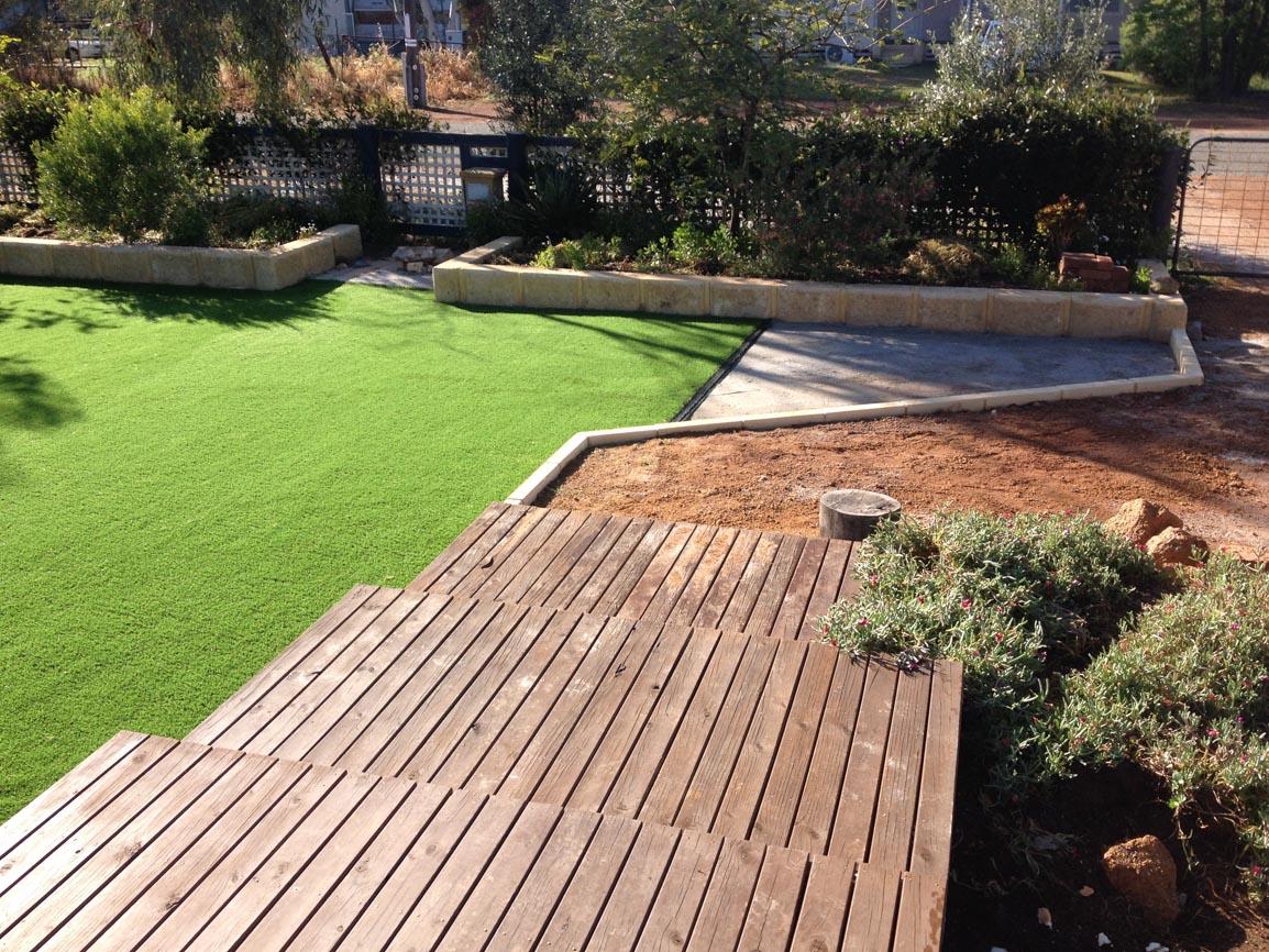 limestone blocks and artificial grass