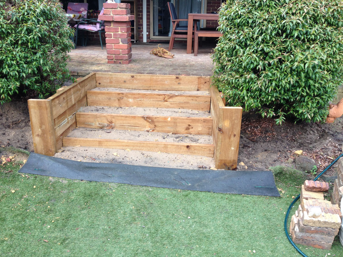 timber steps installation