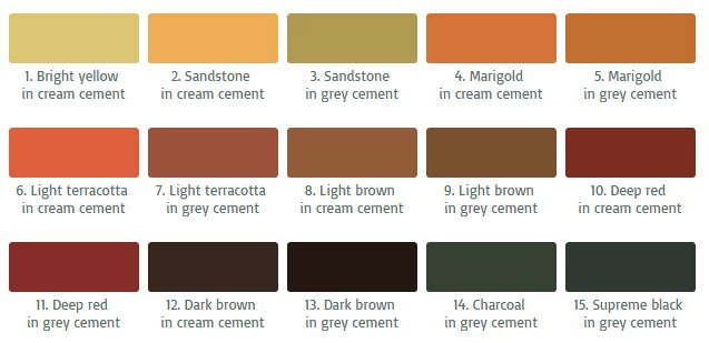 standard concrete colours