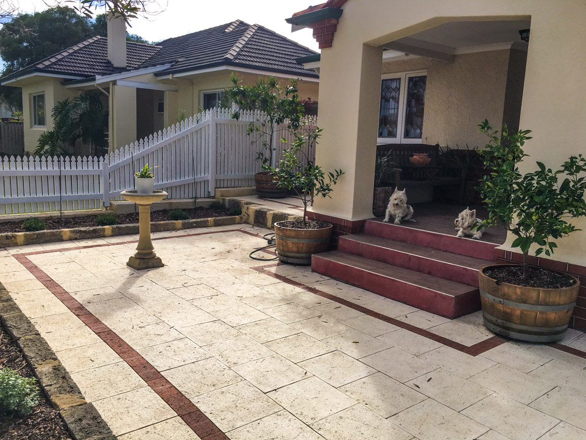 limestone slab brick paving