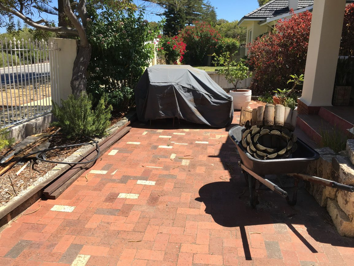 limestone slab brick paving before