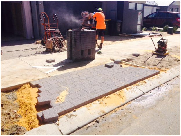 Council verge crossover driveway paved installation brick saw Perth